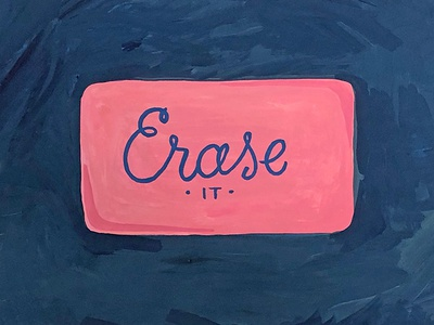 Erase It painting office supplies pink vintage eraser gouache art print