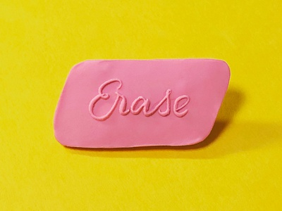 Erase Pin office supplies goods illustration lettering art office eraser erase pin
