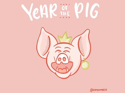 Year of the Pig 2019 lettering character illustration pig chinese lunar new year