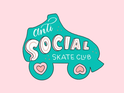 Anti Social Skate Club skate club derby roller derby lettering illustration design sticker roller skate skate