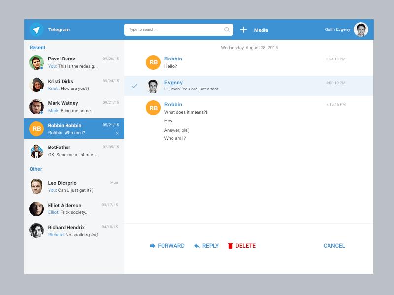 Telegram Web Message by Eygeny Gulin on Dribbble