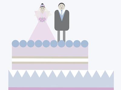 Wedding cake groom bride cake couple illustration wedding