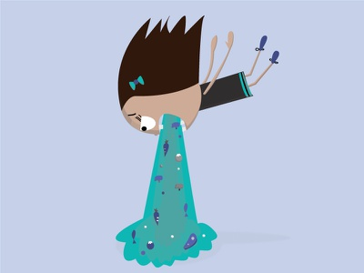 The gawks illustration girl ill sick vomit