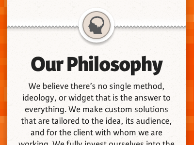 Our Philosophy rwd webtype icon font web mobile first