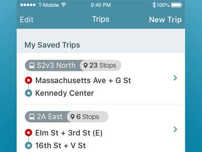 Saved Trips atozed journey trips transit bus ios