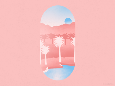 Palm Springs Desert - Travel Illustration freelance illustrator student design work simple minimalist landscape socal dreamscape escapism travel illustration vector art illustrated landscape illustration palm springs desert vacation california pastel colour