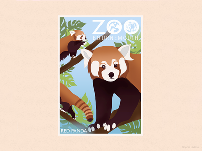 Red Panda Zoo Poster design student flat design kids illustration childrens book nature illustration wildlife art gift shop poster zoo park animal illustration poster design red panda