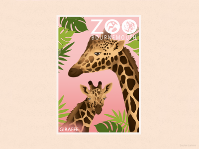 Mother and Baby Giraffe Zoo Poster