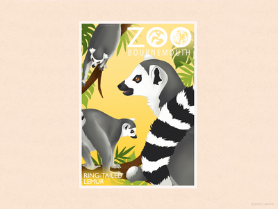 Bournemouth Zoo - Fun Lemur Poster childrens books poster design endangered species illustrator zoological garden zoo park menagerie conservation marsupial vectors illustration work wildlife art lemur illustrated animal care