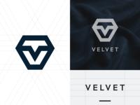 """""""VELVET"""" letter v + diamond logo mark brand identity app icon jewellery logo business logo abstract diamond logo letter v logo logo design logotype website design logomark ux art ui typography icon minimal app logo branding"""