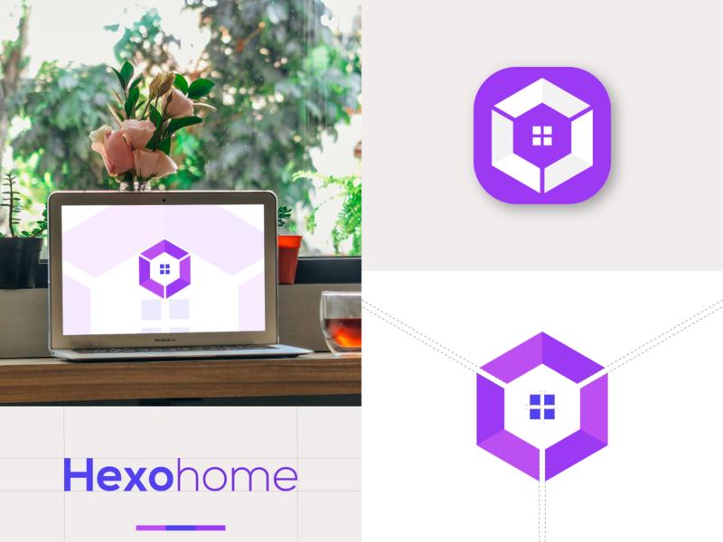 Hexohome hexagon hexagon logo home logo app design graphic design branding design brand identity minimalist logo flat logo website typography lettering web art ui icon minimal app logo branding