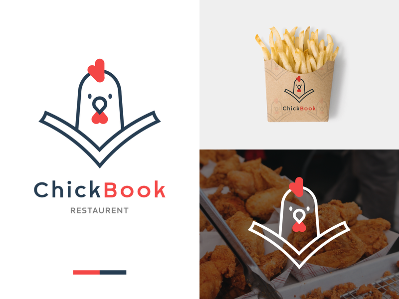 ChickBook Restaurant food app graphic design packaging design restaurant branding brand identity logo design logotype logomark app flat book logo chicken logo restaurant logo art ui icon minimal logo branding