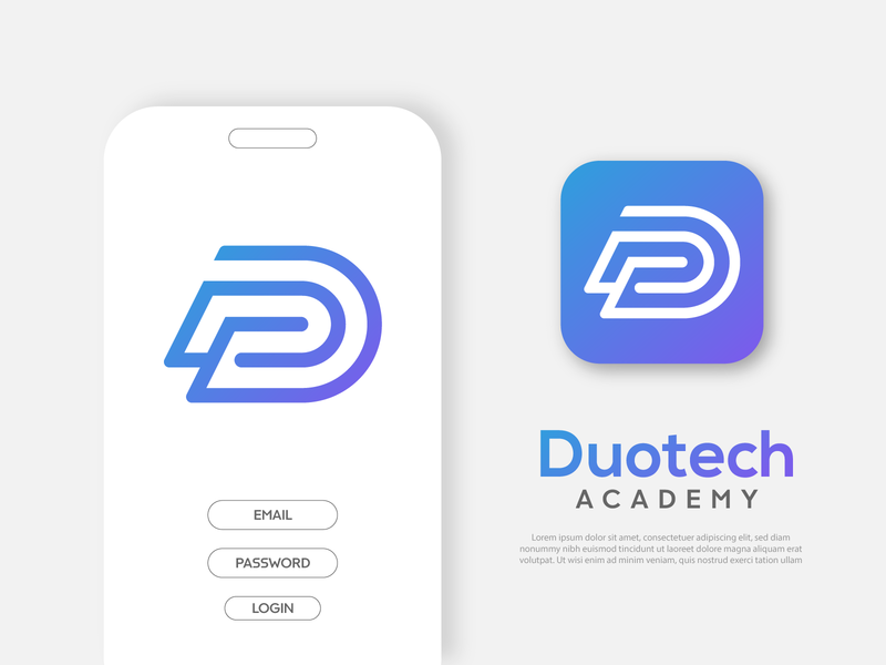 Duo tech logo dt logo letter logo d logo letter d logo lettermark tech logo packaging design branding design brand identity flat lettering art typography ui icon minimal app logo branding