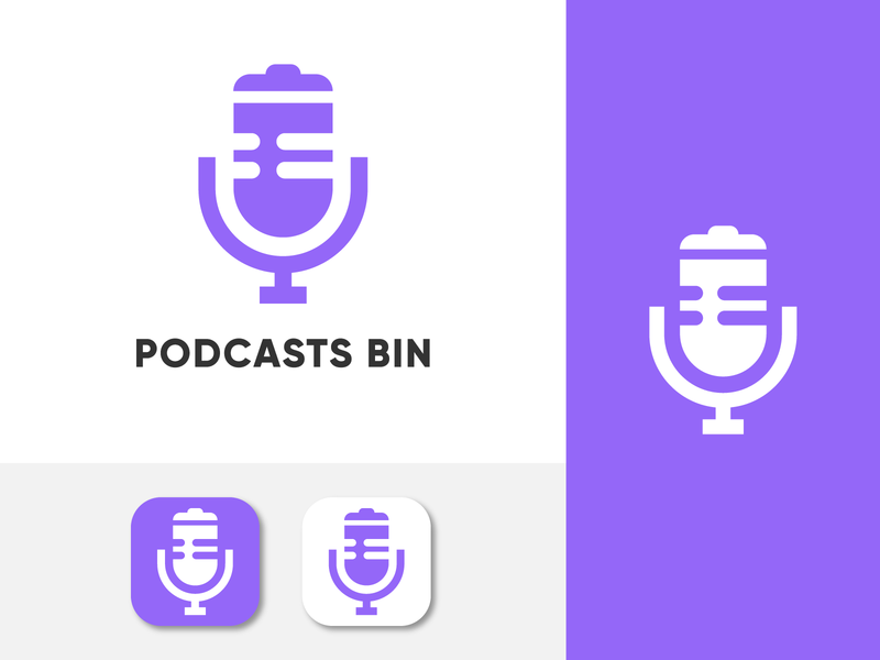 Poscast Bin podcast logo bin logo logo trend logo trends 2020 logotype logomark brand identity packaging website web lettering art typography illustration ui icon minimal app logo branding