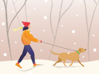 Girl walking with dog in winter