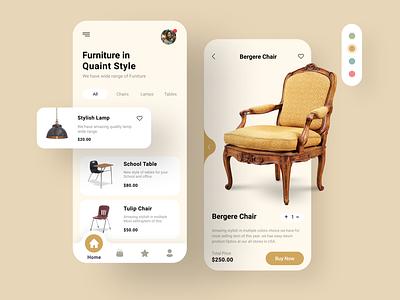 Furniture in  Quaint Style mobile app mobile app design mobile design mobile ui mobile minimal ux furniture store furniture chair furniture app app ui design