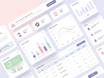 Hospital Management Dashboard web design mental health finance ambulance car card hospital care healthcare health covid19 treatment patient website webapp dashboard admin panel web