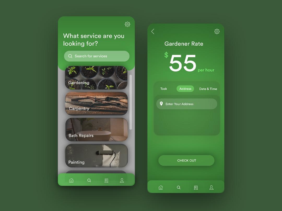 UI Design Concept for a Handyman Services app by Faliha