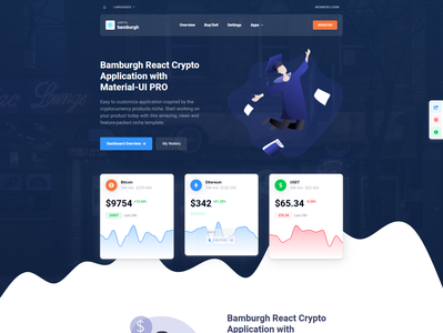 Cryptocurrency Landing Page Design ui illustration elements html design landing pages landing page design landing page ui charts crypto landing page material-ui admin dashboard