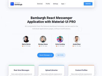Messenger Landing Page reactjs admin dashboard design branding html5 illustration elements bootstrap ui kit admin template admin dashboard template