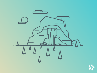 Mountain Illustration outline cloud sun waterfall illustration forest mountain