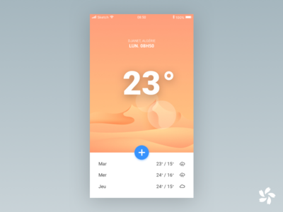 Weather App Concept weather sunny desert application app design temperature illustration mobile