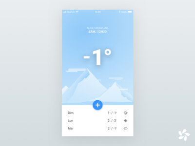 Weather App Concept mobile illustration temperature design app application mountain snowy weather
