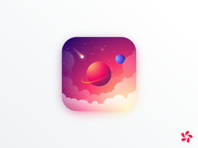 Space App Bouton douglas andres cloud stars comet planet bouton gradient illustration design icon space app
