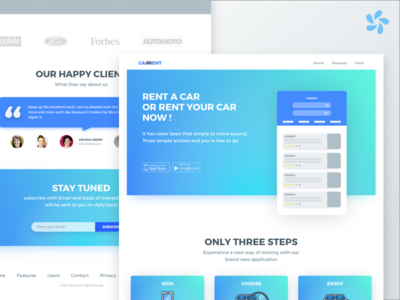 Carrent Landing Page website web ui rent page landing illustration homepage car booking app