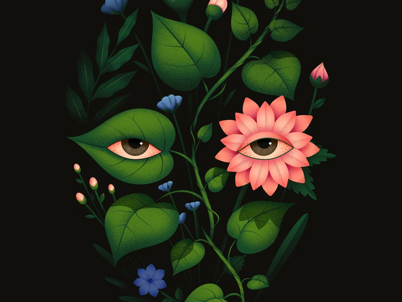 Blooming face flora eyes eye flowers plants close up vector dissolve texture illustration anano