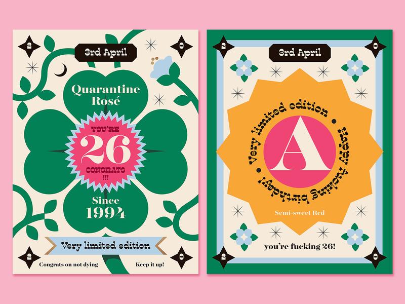 Quarantine Birthday wine birthday design labeldesign wine label packaging wine pandemic cute illustration anano