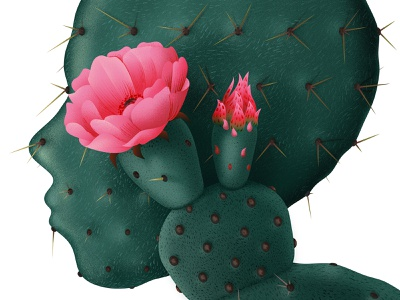 Cactus flower 2d portrait face plants cactus botanical floral vector texture illustration anano