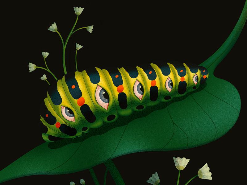 Caterpillar surreal creepy floral eyes weird close up vector adobe animal dissolve texture illustration
