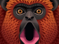 Howler Monkey rum monkey close up vector adobe animal texture illustration anano