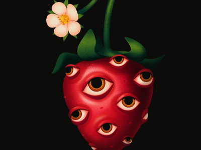Strawberry weird surreal eye close up vector adobe dissolve texture illustration anano