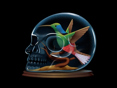 The New York times - Book Review glass book thrille taxidermy bird thenewyorktimes editorial hummingbird skull illustration