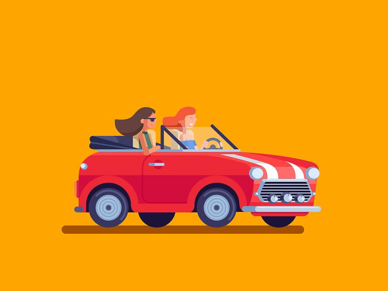 Girls in mini anano girls red car cooper mini