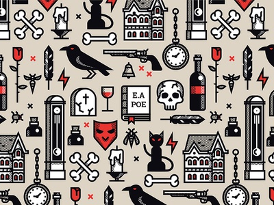 Edgar Allan Poe pattern house candle american book bones rose skull pattern poe