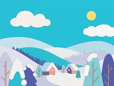 Snowy Mountains cute sun winter anano house holiday christmas tree houses snow