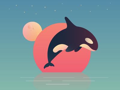 Killer Whale anano orque orca planets sun gradient gradients weird surreal dolphin fish killer whale whale