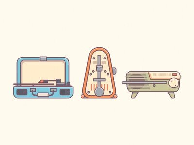Retro Music radio metronome vinyl warm retro icons music vintage