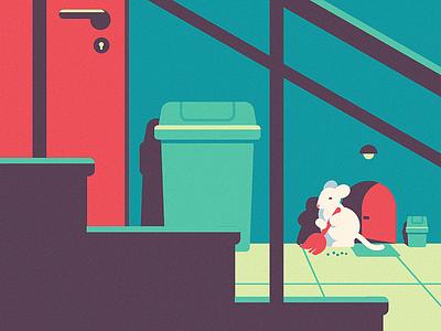 Responsible Neighbor anano illustration 2d falt cute mouse