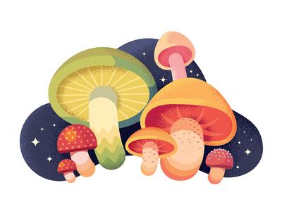Mushrooms cute colors texture noise mushrooms anano illustration flat 2d