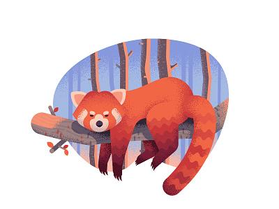 Red panda anano texture dissolve animal 2d flat cute panda red