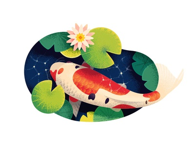 🔴 Koi japanese japan flora nature illustration texture flat 2d koi fish pond anano