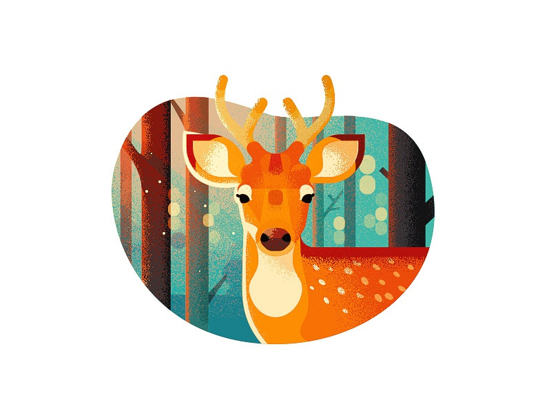 Deer trees anano cute animal 2d flat illustration deer