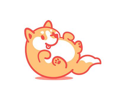 Doge shibainu doge fluffy cute dog vector illustration flat 2d