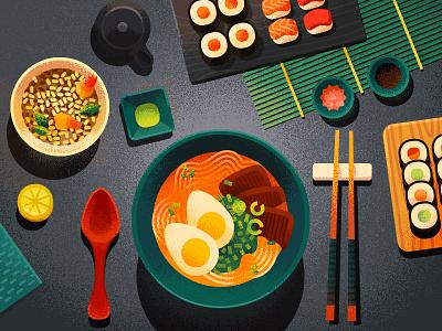 Ramen! eat table amen ramen japanese sushi anano 2d texture dissolve topview food