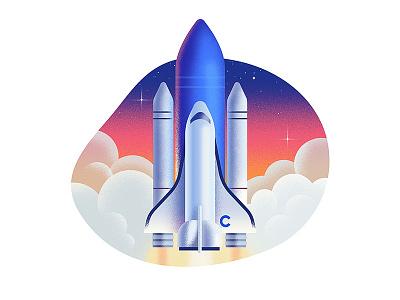 Shuttle 🚀 stars sky clouds gradients texture dissolve shuttle rocket space