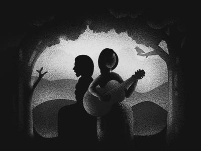 Folk music women guitar blackandwhite grey white black texture dissolve music folk